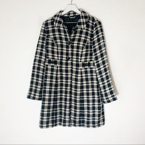 Apt 9 Black and Cream Plaid Two Button Trench Coat